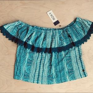NWT Roxy off the shoulder crotchet lace crop top